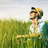 man_smile_sun_field_outdoors_natural_grass_relax_pic
