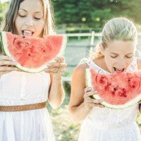 women_smile_watermelon_eat_sunshine_outside_healthy_fun_summer_pic