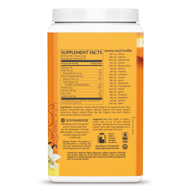 Sunwarrior Classic Plus - Vegan Protein Powder Vanilla Supplement Facts