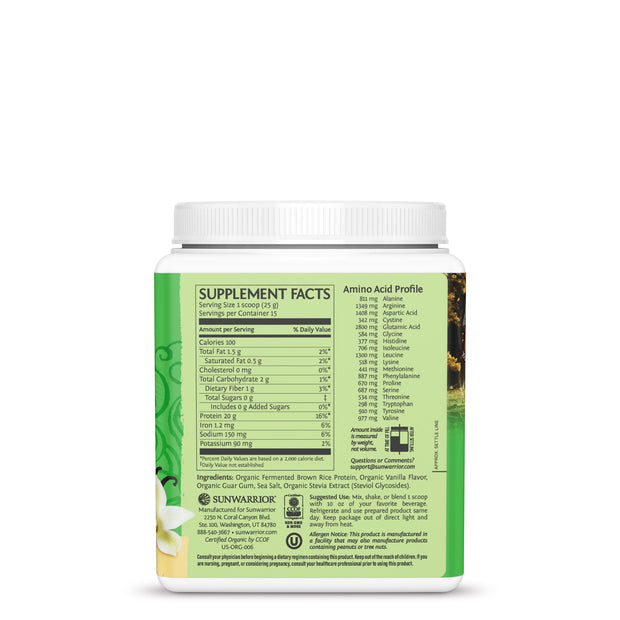 Sunwarrior Classic Protein - Vanilla Vegan Protein Powder Supplement Facts