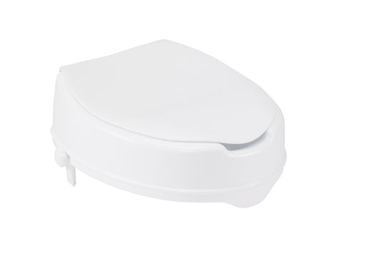 Raised Toilet Seat with Lock and Lid, Standard Seat, 2""