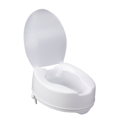 Raised Toilet Seat with Lock and Lid, Standard Seat, 6""