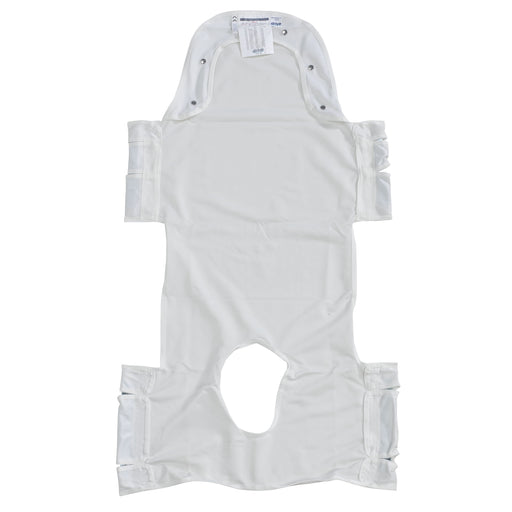 Patient Lift Sling with Head Support and Insert Pocket with Commode Opening