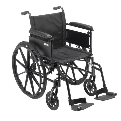 "Cruiser X4 Lightweight Dual Axle Wheelchair with Adjustable Detachable Arms, Full Arms, Swing Away Footrests, 20"" Seat"