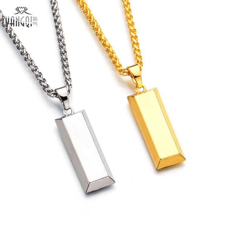 Hiphop BRAND  Gold Cube Bar Necklace&Pendant Hip Hop Jewelry Dance Charm Franco Men Chain Necklace - BLACKJEWLERY&CLOTHINGMATTER