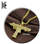 wholesale 20/pc Pistol Gun Uzi Necklace Star Jewelry Men Hip Hop Dance Charm Franco Chain crystal Golden Necklace - BLACKJEWLERY&CLOTHINGMATTER