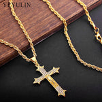Hip Hop Iced Out Rhinestone Cross Pendant Necklace Religious Prayer Necklace Jewelry For Male - BLACKJEWLERY&CLOTHINGMATTER