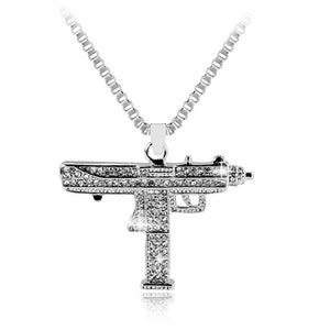 Gold Necklace Uzi Gun Pendant Necklace Men Alloy Full Crystal Bling Submachine - BLACKJEWLERY&CLOTHINGMATTER