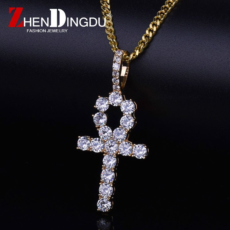 Iced Zircon Ankh Cross Pendant Gold Silver Copper Material - BLACKJEWLERY&CLOTHINGMATTER