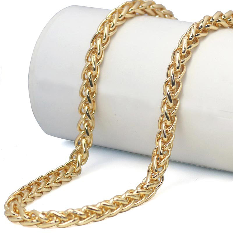 Braided Gold Wheat Link Franco Chain Necklaces Gold Man Stainless Steel - BLACKJEWLERY&CLOTHINGMATTER