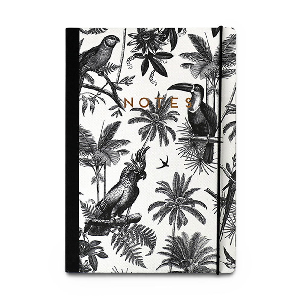 Birds of the Jungle Notebook black and white with gold letters