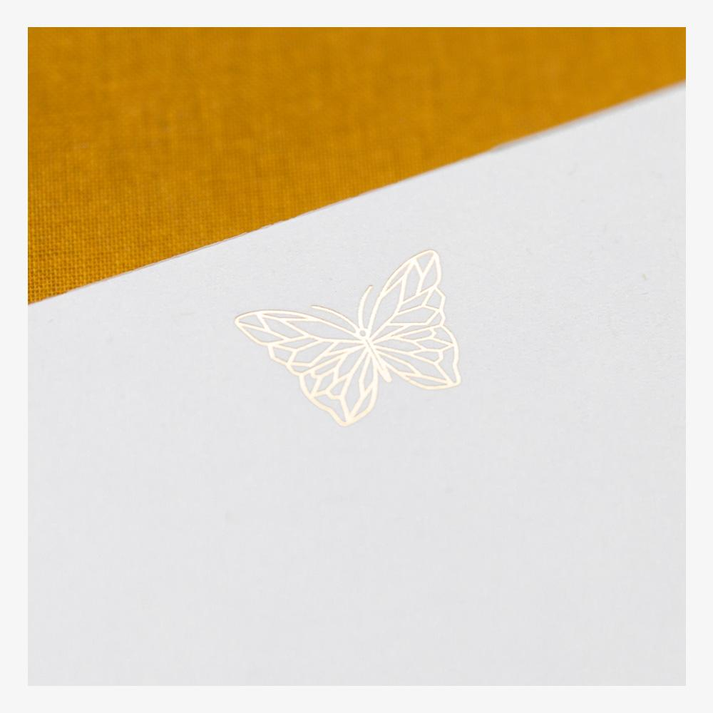 Ink and Volt Butterfly Faceted Foil Notepad detail