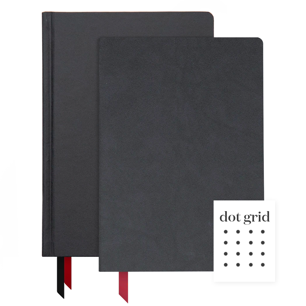 Ink+Volt 2020 Black Planner & Softcover Black Notebook Bundle Dot