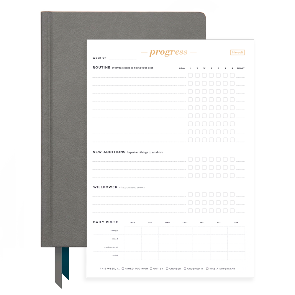 Ink+Volt Charcoal 2020 Planner & Progress Pad Bundle