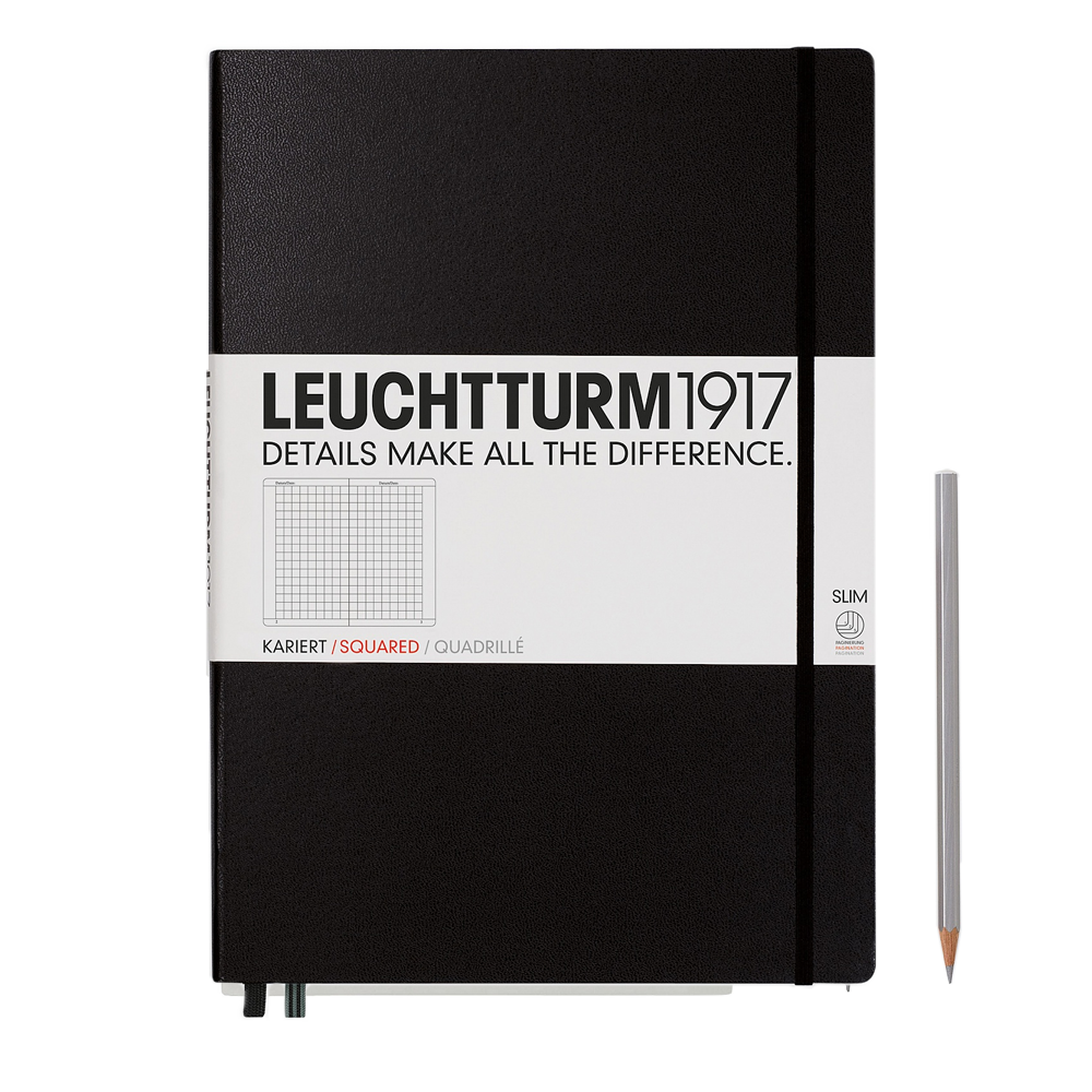 Leuchtturm1917 Master Slim Hardcover Notebook black grid