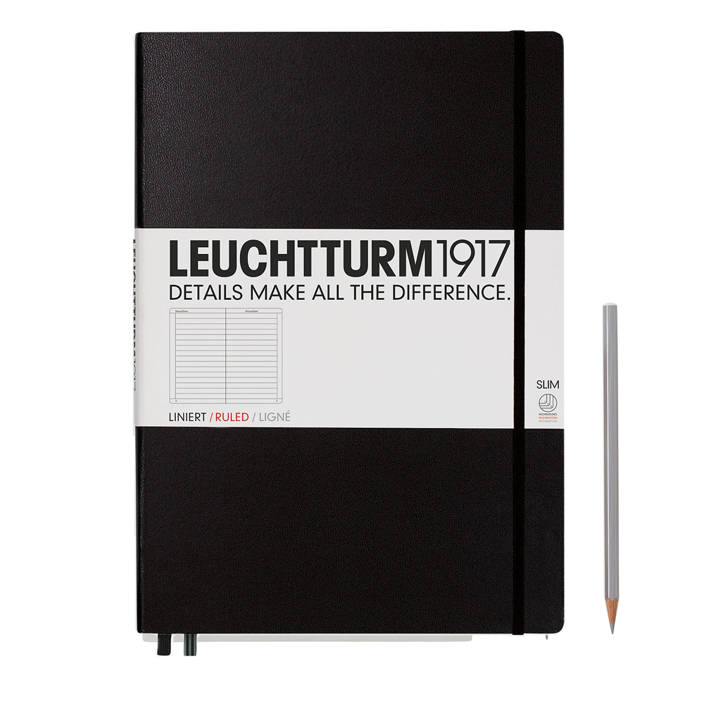 Leuchtturm1917 Master Slim Hardcover Notebook black lined