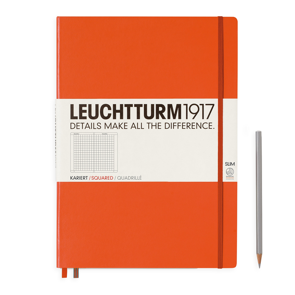 Leuchtturm1917 Master Slim Hardcover Notebook orange grid