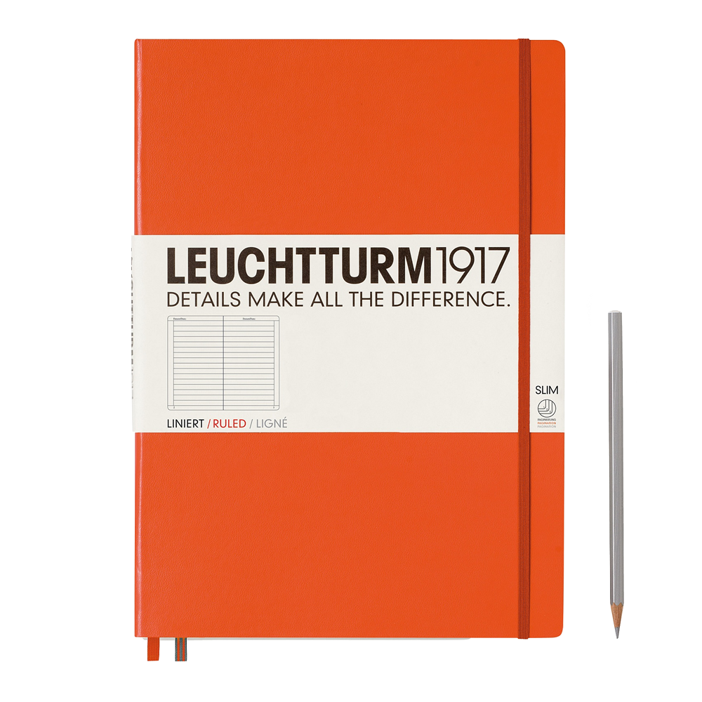 Leuchtturm1917 Master Slim Hardcover Notebook orange lined