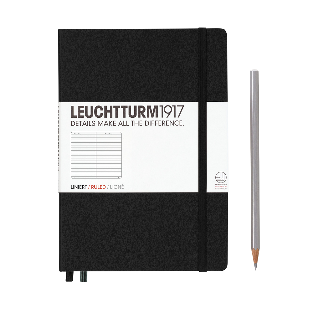 Leuchtturm1917 Medium Hardcover Notebook Lined Black