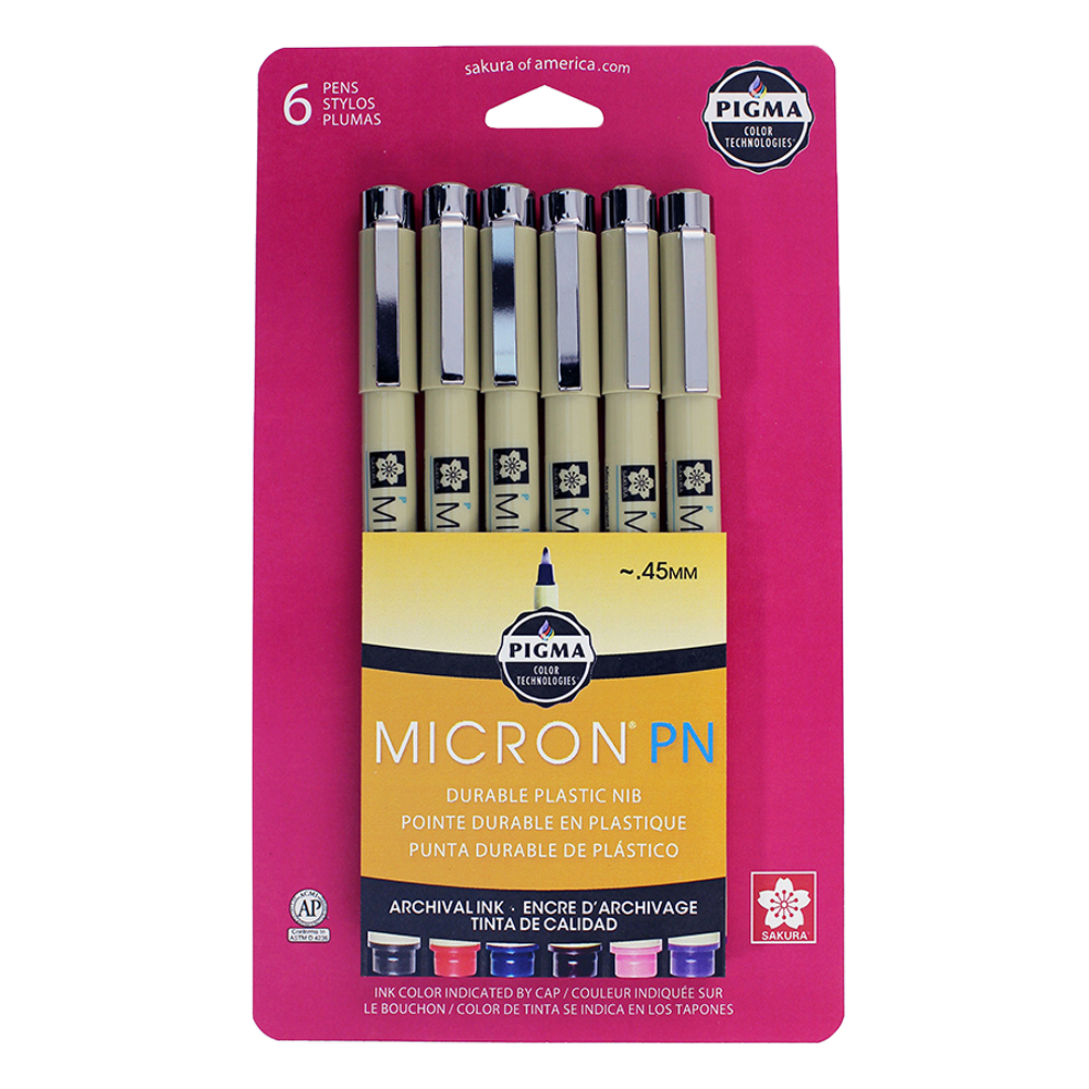 Pigma Micron PN Assorted 6-pack packaging