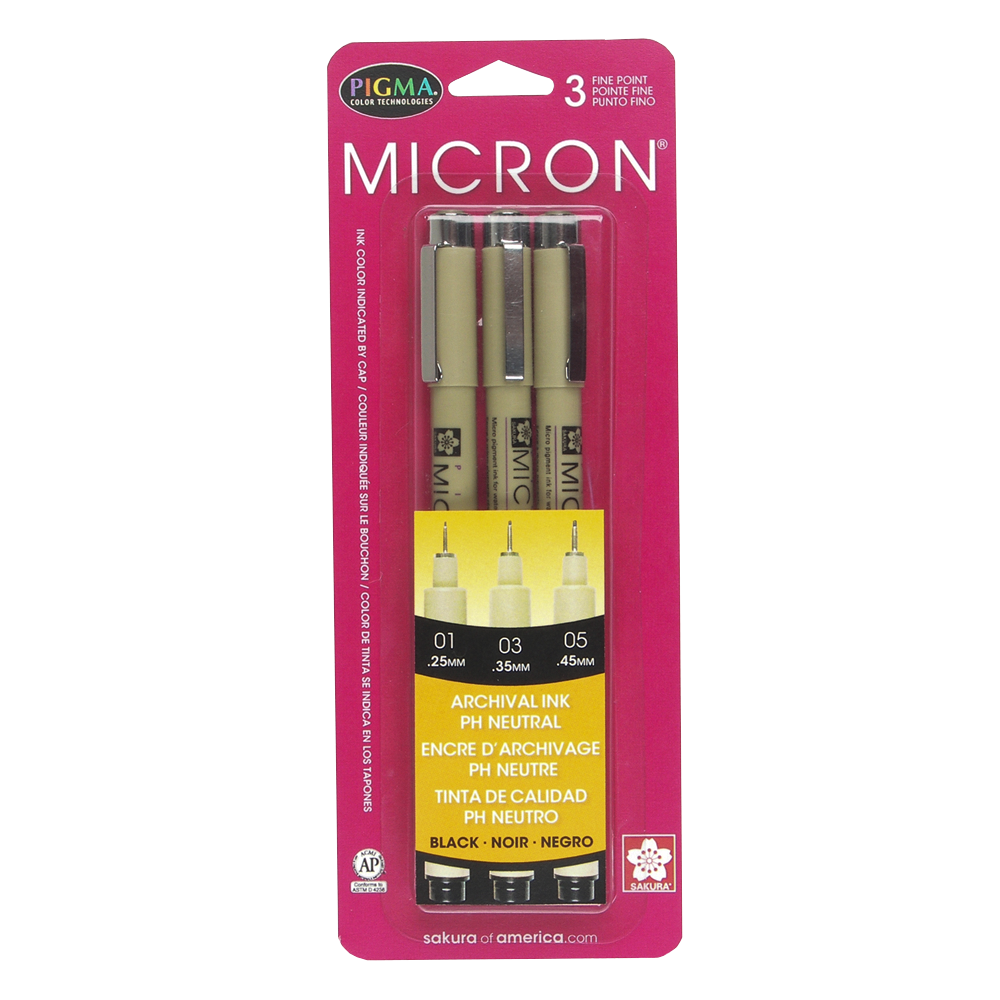 Pigma Micron Black Ultrafine 3 pack