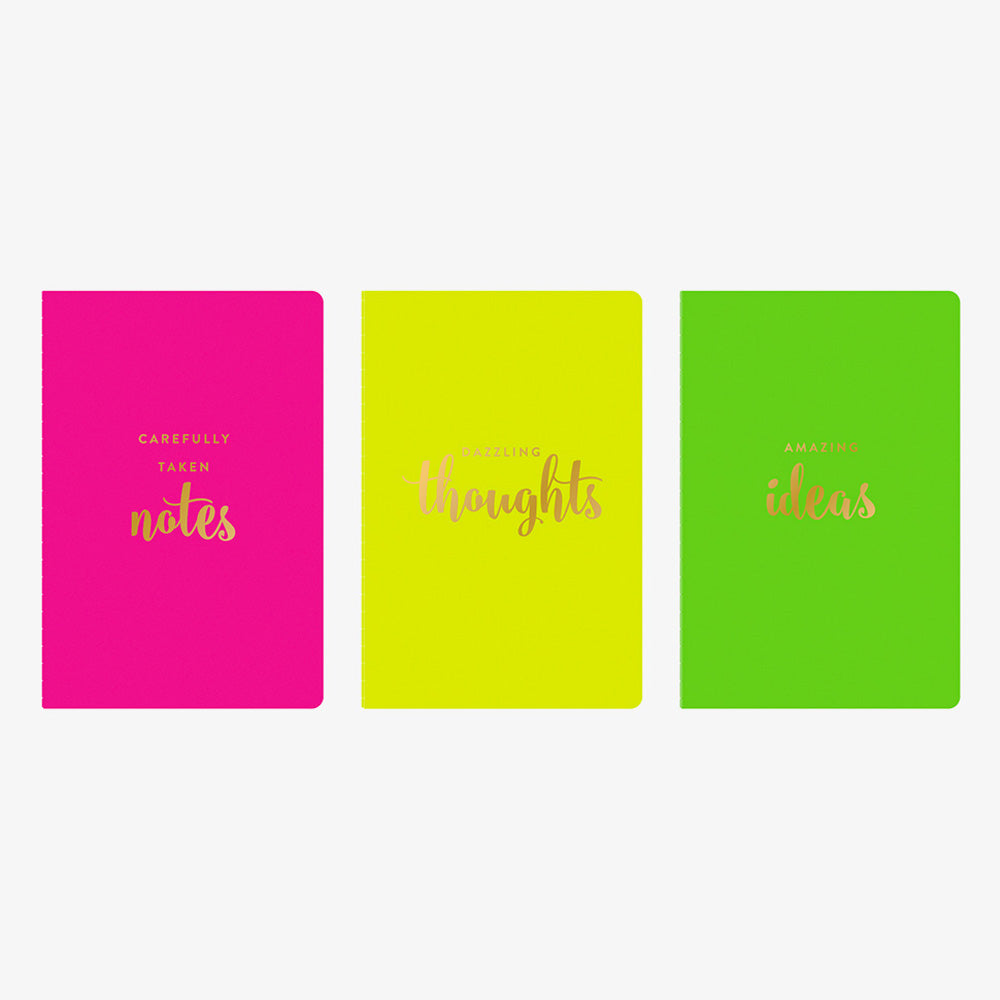 Neon Pocket Jotters neon pink highlighter yellow and lime green