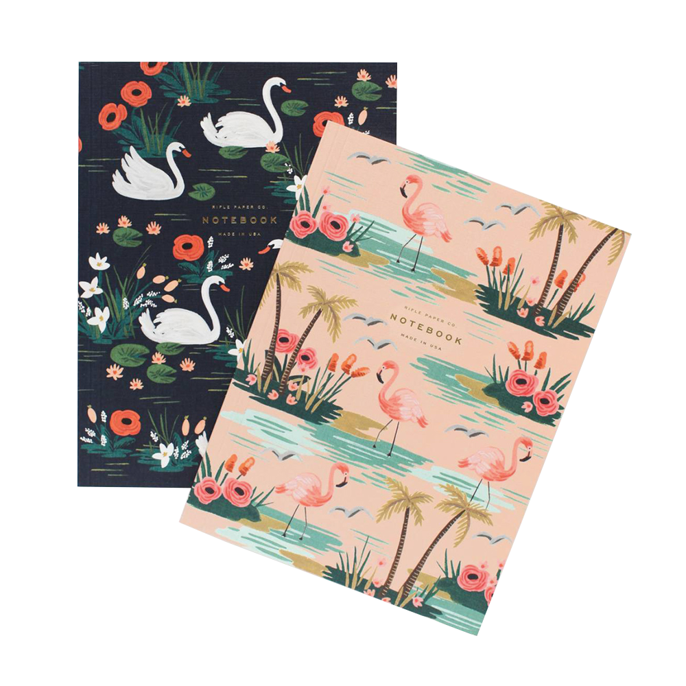 Rifle Paper Co Softcover Notebook Set Birds of a Feather Flamingo and Swan