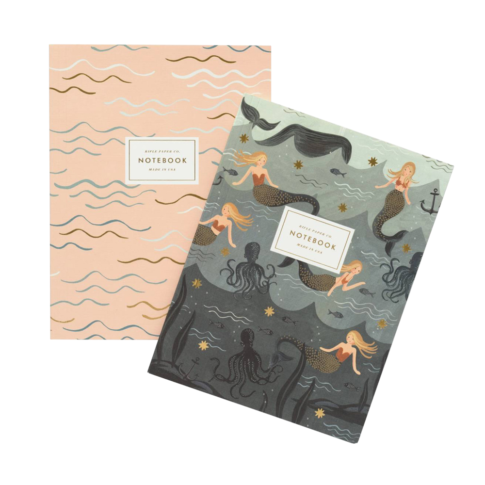 Rifle paper Co Softcover Notebook Set Mermaid pink waves and mermaids