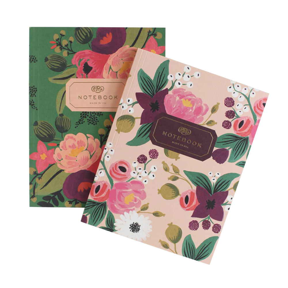 Rifle Paper Co Softcover Notebook Set Vintage Blossom forest green and soft pink