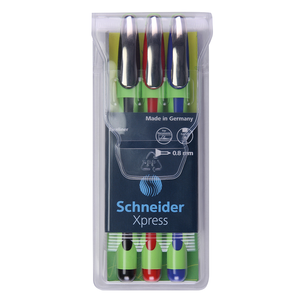 Schneider Fineliner Xpress Pens Assorted Color 3-Pack