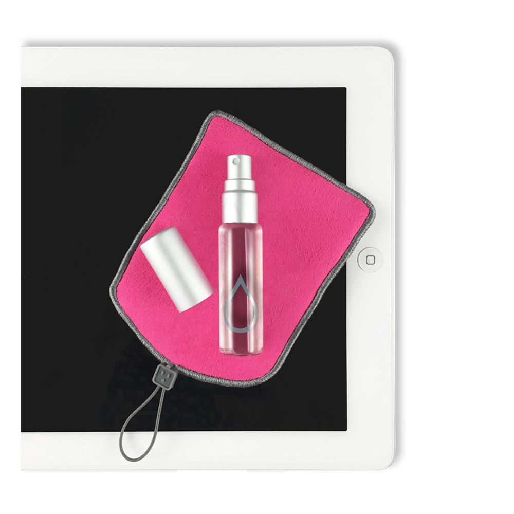 Bitti Screen Cleaning Kit lipstick pink dust puff and spray