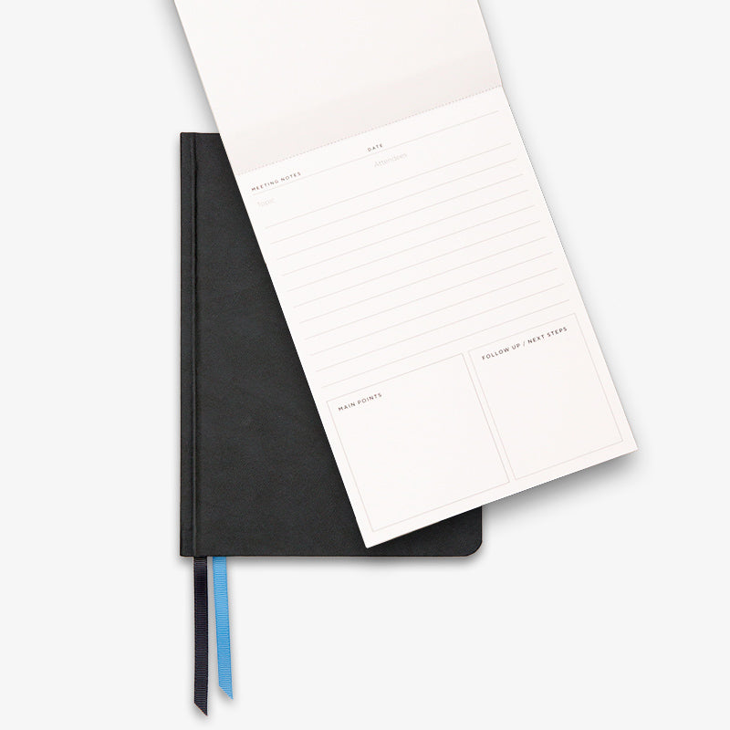 Ink and Volt Planner black and Meeting Notes open