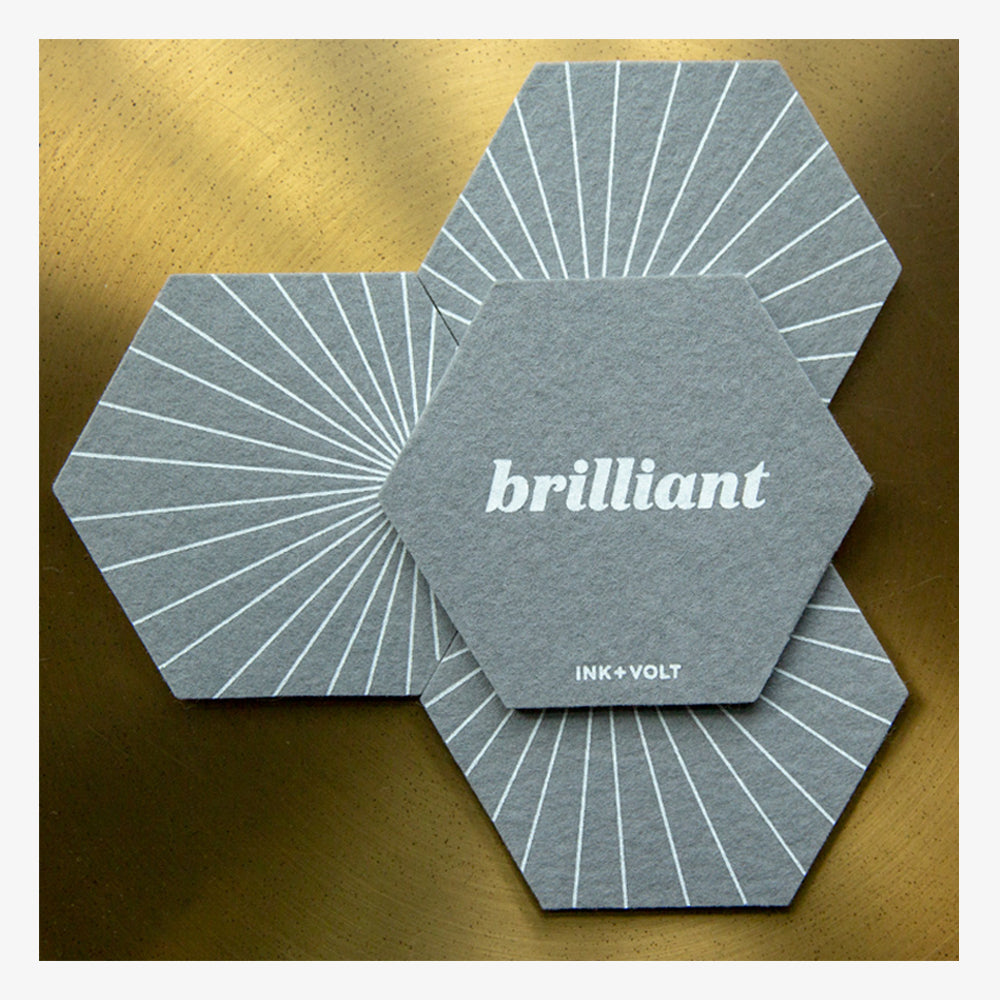 Ink and Volt inspirational felt coasters brilliant