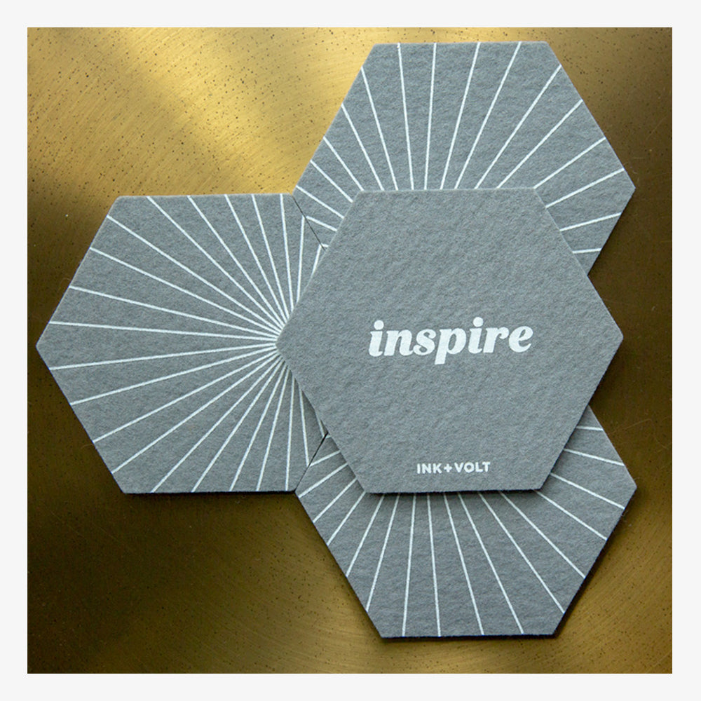 Ink and Volt inspirational felt coasters inspire