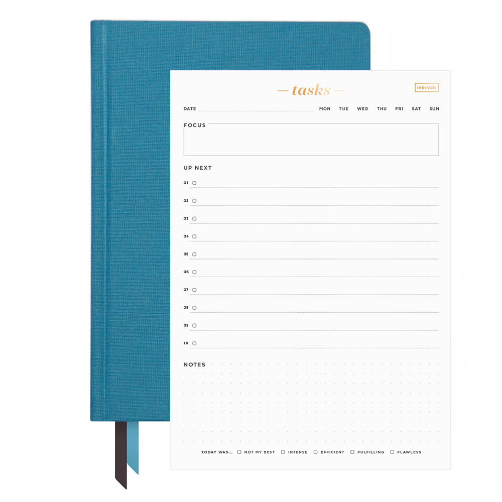 Ink+Volt 2021 Planner & Daily Task Pad Bundle blue slate