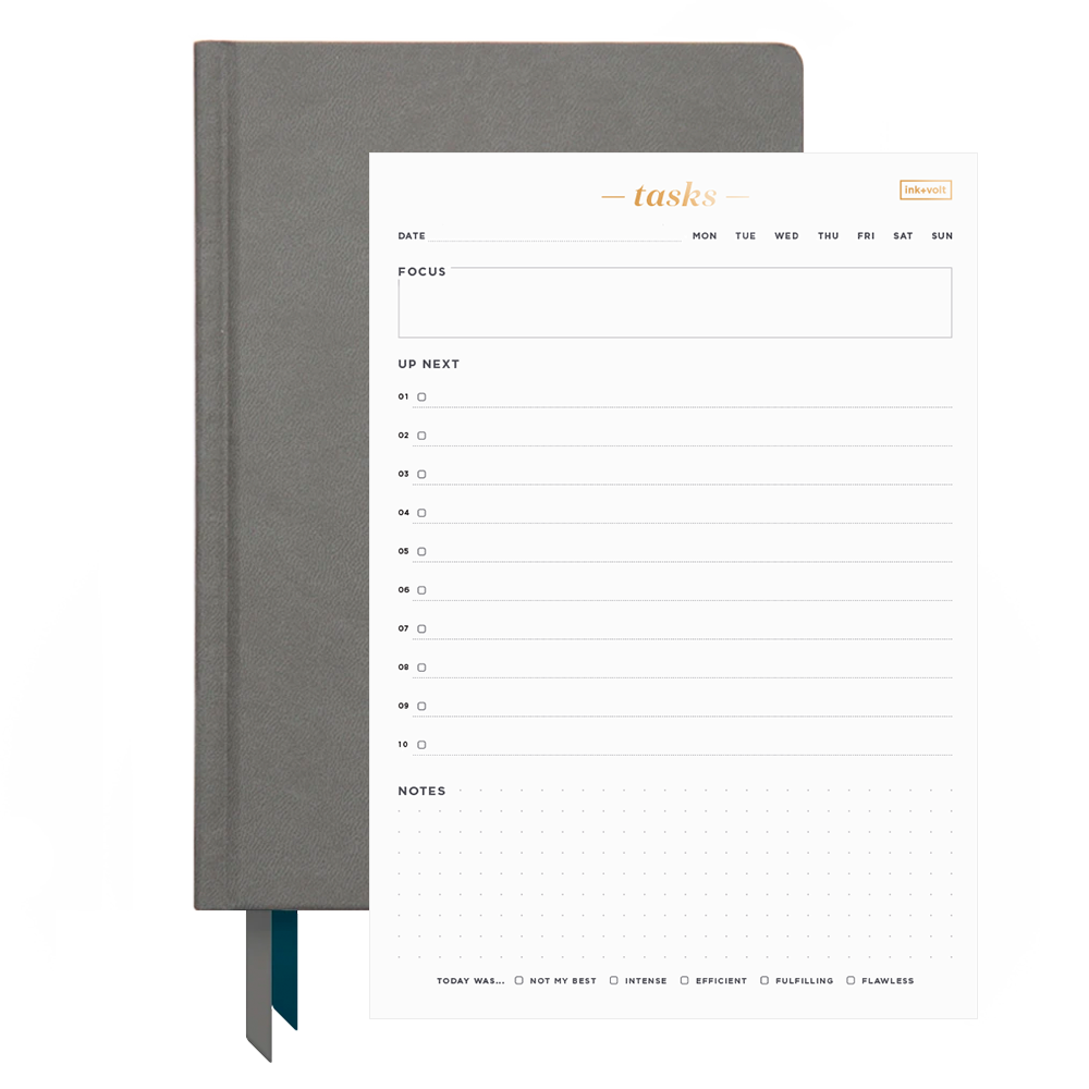 Ink+Volt 2021 Planner & Daily Task Pad Bundle charcoal