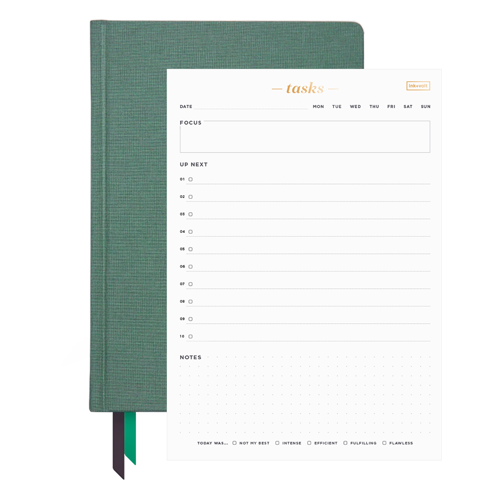 Ink+Volt 2021 Planner & Daily Task Pad Bundle sage