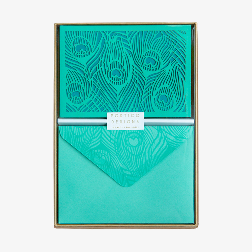 Portico peacock card box set