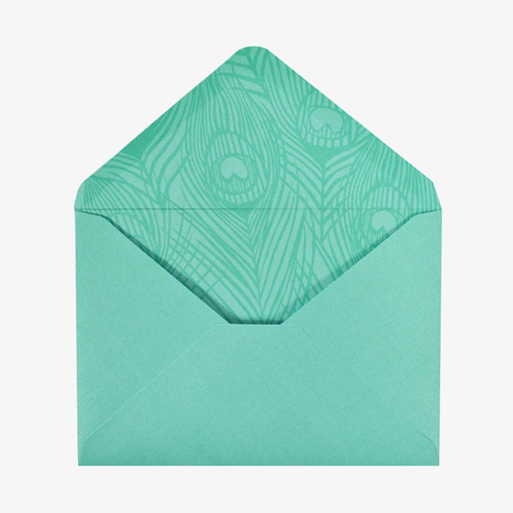 Portico peacock card set envelope