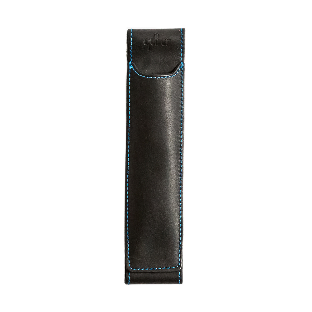 Quiver Pen Holder black leather blue stitching