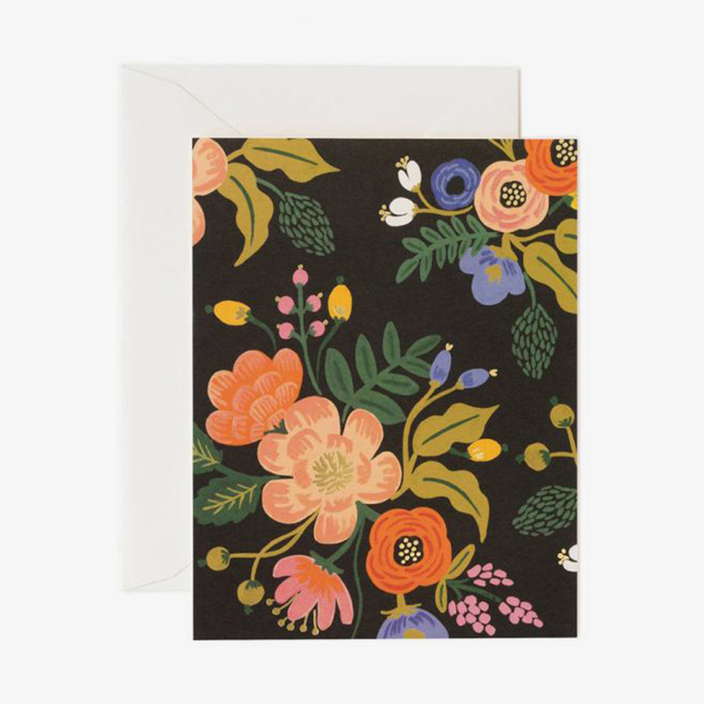 Rifle Paper Co lively floral card black