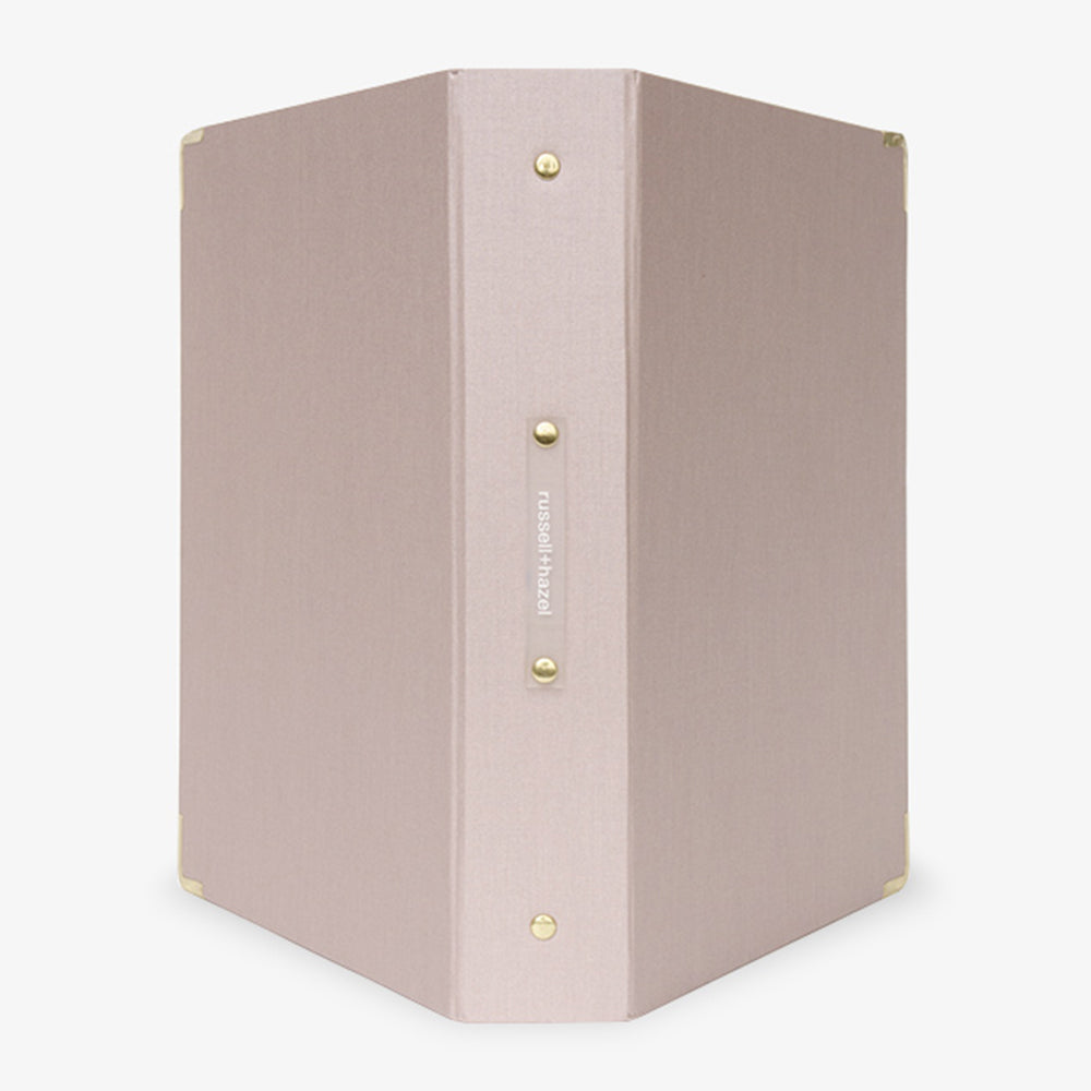 Metallic Bookcloth 3-Ring Binder peony pink outside