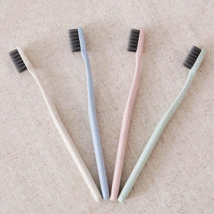 Nirvana Life Bathroom Eco-Friendly Bamboo Activated Charcoal Wheat Stalk Handled Toothbrush