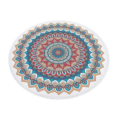 Nirvana Life Family Blue and Red Mandala / 60 in Round Beach Towels