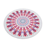 Nirvana Life Family Red and Purple Mandala / 60 in Round Beach Towels