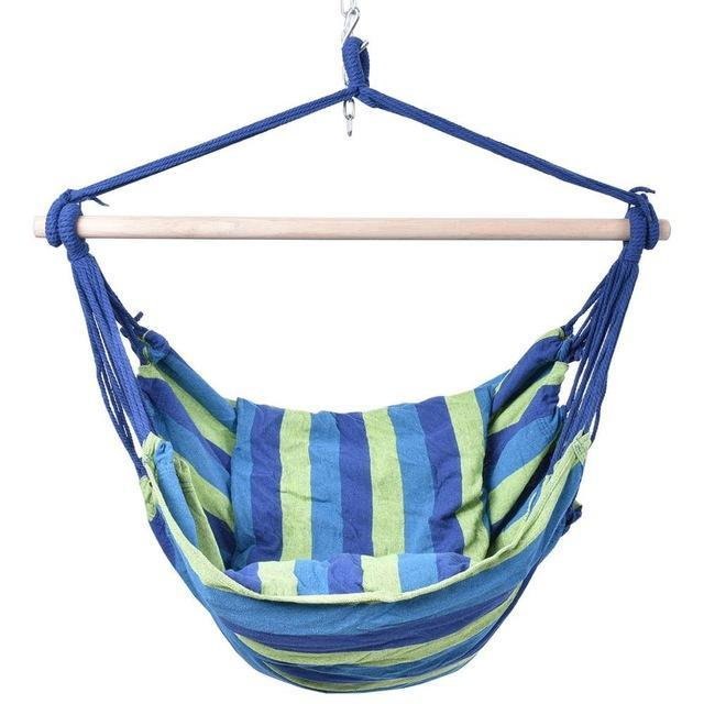 Nirvana Life Home Decor Bright Blues Hanging Cotton Rope Hammock