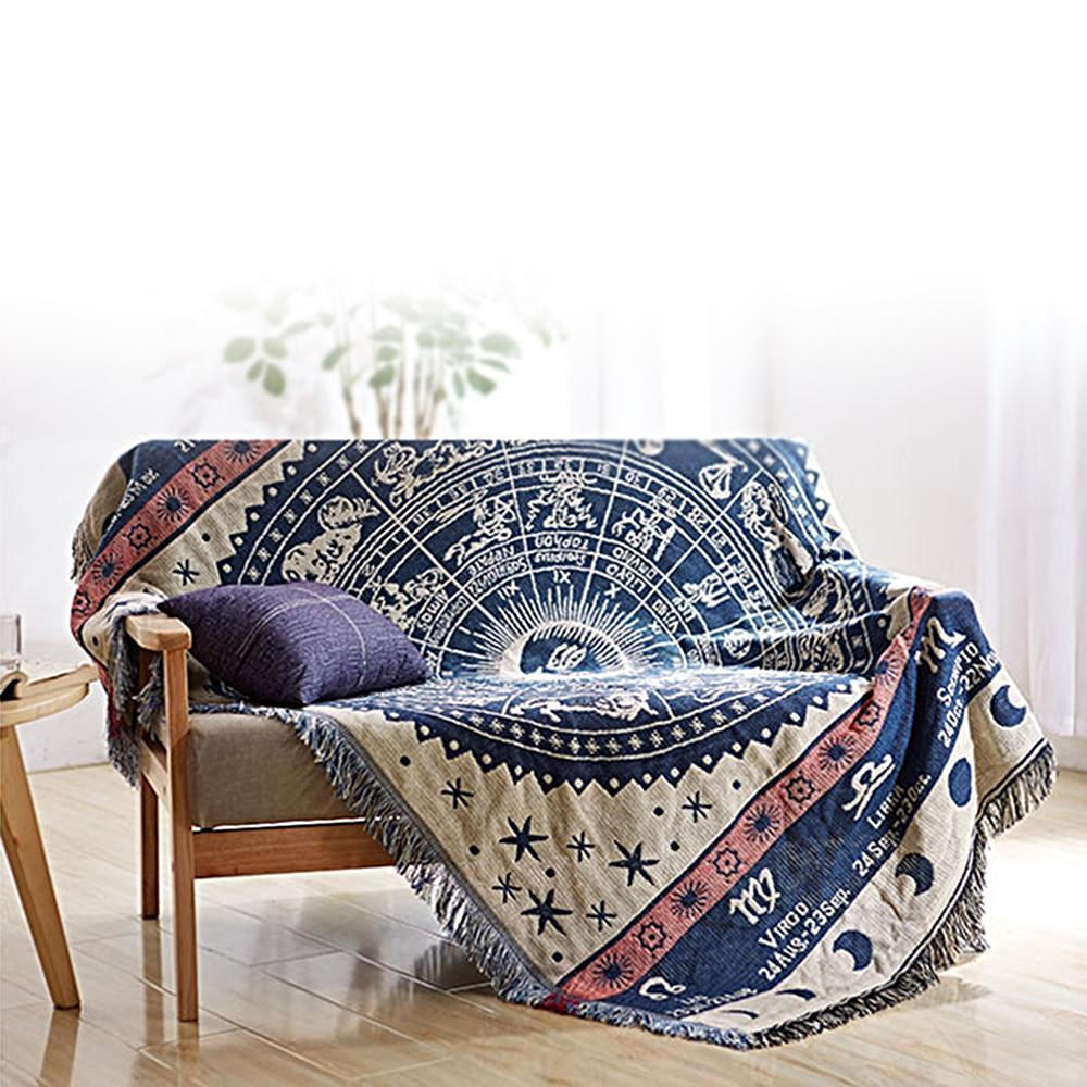 Nirvana Life Home Decor Handwoven Blue Horoscope Throw