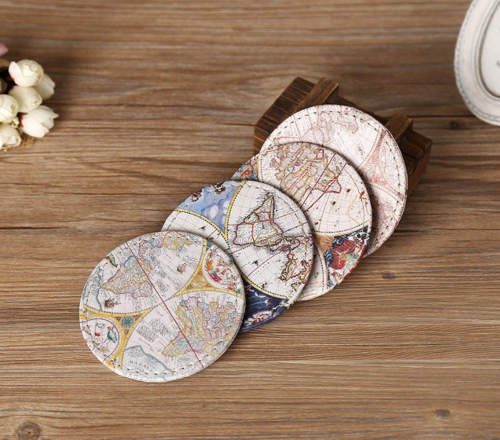 Nirvana Life Home Decor Vintage World Map Coasters
