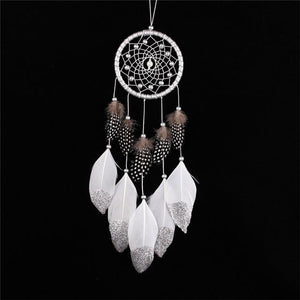 Nirvana Life Home Decor White/Spotted Feathers / Medium Native American Dreamcatchers