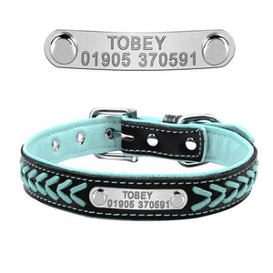 Nirvana Life Pets Blue / L Braided Leather Collar with Personalized Engraving